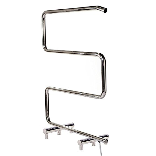 Kontour Cross Heated Towel Rail, Chrome, Electric Plug-in - Warm, Dry Towels - Luxury Bath/Kitchen Towel Warmer Rack ICO Bath