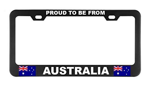 (PROUD TO BE FROM AUSTRALIA Black License Plate Frame Heavy Metal Sturdy Car Parts)