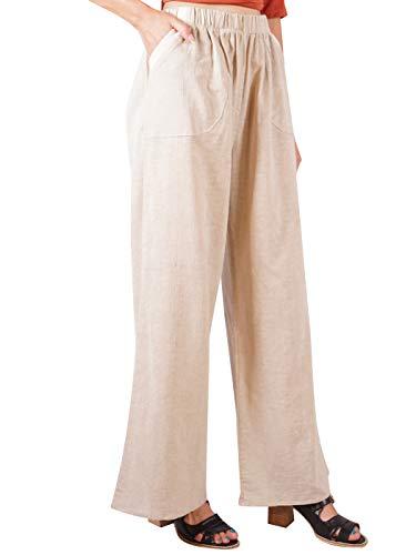 (Anna-Kaci Women's Casual Loose Cotton Linen Elastic Waist Pull-On Wide Leg Pants,Khaki,Large)
