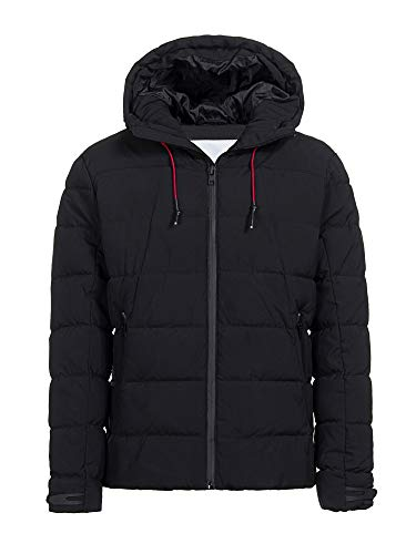 CIVICO 76 Men's Hooded Puffer Down Black Jacket Classic Quilted Winter Coat