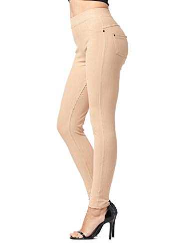 Cotton Stretch Khakis (Premium Jeggings - Denim Leggings - Cotton Stretch Blend - Full Length Beige Khaki - Small/Medium)
