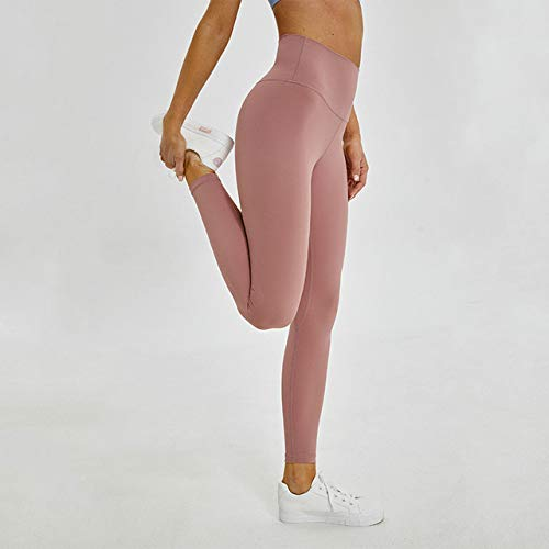 yanluzz Soft Nude Running Exercise Fitness Pants Tights Women's Elastic High Waist Sports Tights Yoga Pants Pink XL
