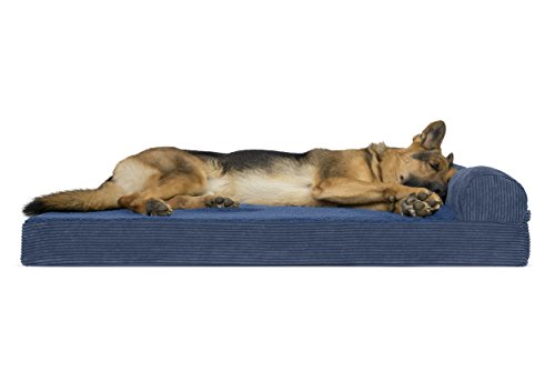 FurHaven Pet Dog Bed | Deluxe Orthopedic Faux Fleece & Corduroy Chaise Lounge Sofa-Style Pet Bed for Dogs & Cats, Navy, Jumbo