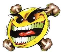 (Chaos Comics - Flyin Evil Smiley Crossbones - Sticker / Decal)