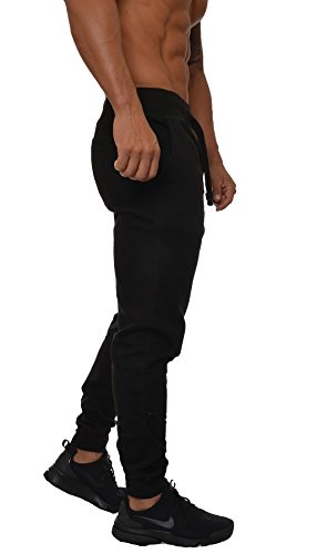 YoungLA Mens Slim Fit Joggers Fitness Activewear Sports Fleece Sweatpants For Gym Training Black Large by YoungLA (Image #2)