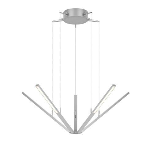 Sonneman 2300 Starflex 5 Light LED Pendant with Frosted Shade, Bright Satin Aluminum