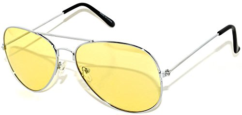 Classic Aviator Sunglasses Yellow Gradient Lens Metal Silver Frame - Colored Aviator Sunglasses