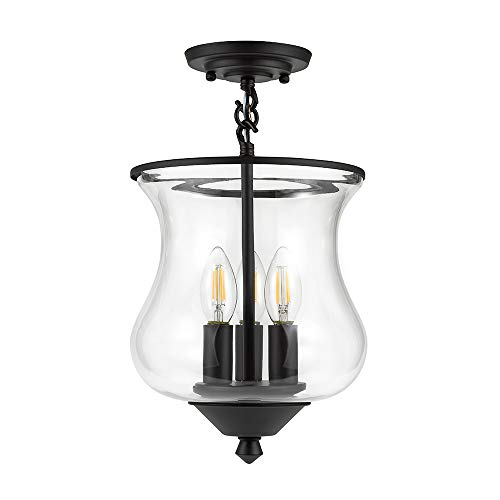 - Ravenna Home Clear Glass Semi-Flush Mount Pendant Ceiling Light Fixture With LED Light Bulb - 8.5 x 8.5 x 14.75 Inches, Dark Bronze