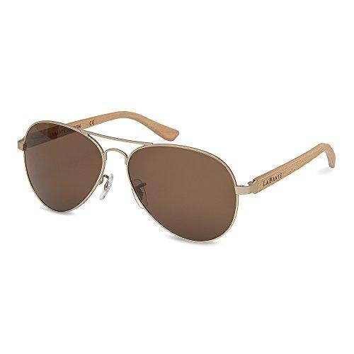 LaBante London 'Bailey' Recycled Beech Wood Aviator Designer Sunglasses for Women & Men (Aviator London)
