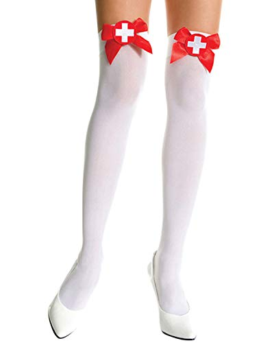 Song Qing Thigh High Socks Sexy Nurse Red Cross Bow Topped Fancy Dress Stockings (White) -