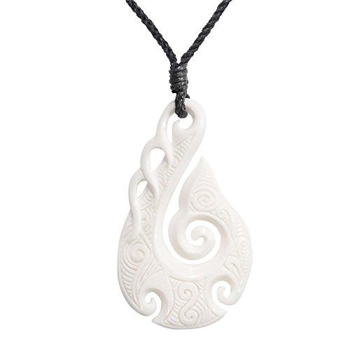 81stgeneration Women's Men's Hand Carved Bone Maori HEI Matau Fish Hook Koru Spiral Pendant Necklace