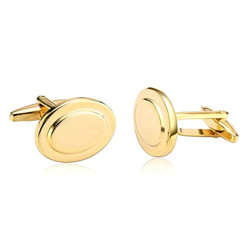 (Bishilin Gold Plated Cufflink Men | Women Gold Tuxedo Shirts Oval Cuff Links Wedding Business)