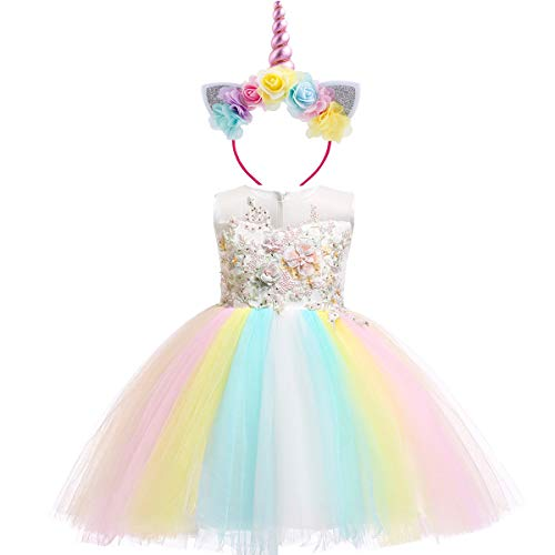Little Big Girl Flower Unicorn Costume Princess Holiday Dress for Kid Pageant Birthday Wedding Bridesmaid Fromal Prom Dance Gown White+Headband 4-5 Years