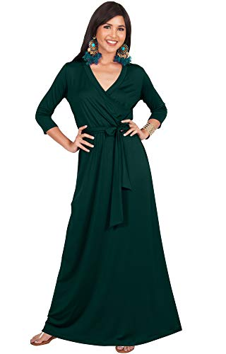 KOH KOH Plus Size Womens Long 3/4 Half Sleeve Sleeves Flowy V-Neck Casual Fall Winter Empire Waist Evening Cute Full Floor-Length Gown Gowns Maxi Dress Dresses, Emerald Green 2XL 18-20