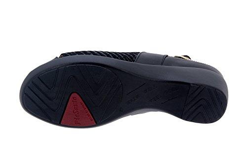 Calzado mujer confort de piel Piesanto 6154 sandalia plantilla extraible zapato cómodo ancho Negro