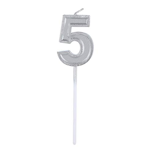 Price comparison product image Alimao Silver Number 1 Birthday Numeral Candles Number Cake Decor for Adults / Kids Party Clearance sale
