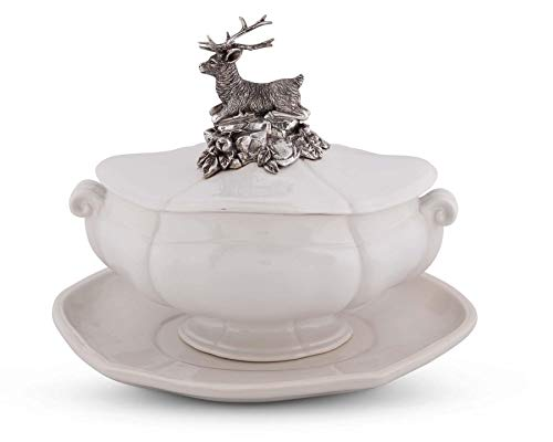 - Vagabond House Pewter Metal Stag Stoneware Soup Tureen with Tray 13