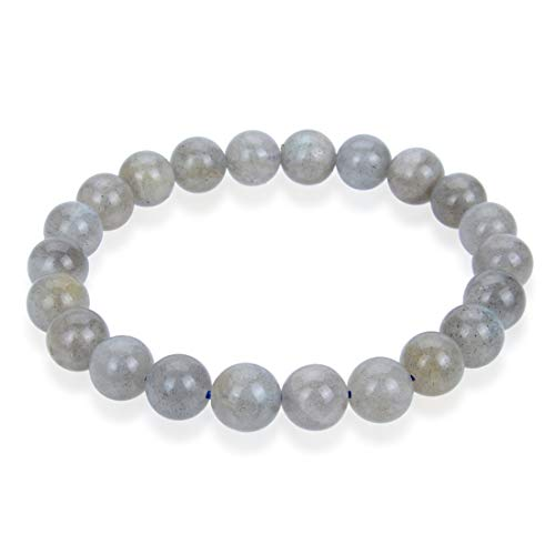 Natural Labradorite Gemstone Bracelet 7 inch Stretchy Chakra Gems Stones Healing Crystal Great Gifts (Unisex) ()