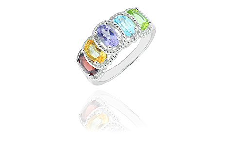 (NYC Sterling Women Silver Genuine Gemstone Multi Color Oval Fancy Ring (9) )