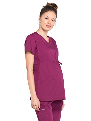 Cherokee Professionals by Workwear Women's Maternity Mock Wrap Soft Knit Panel Solid Scrub Top Large Wine (Maternity Shirts Win)