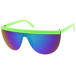 sunglassLA - Futuristic Neon Semi-Rimless Flat Top Mirror Mono Lens Shield Sunglasses 65mm (Green / Green Purple Mirror)