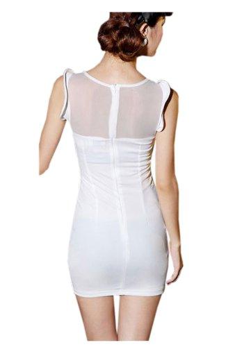 Della Maglia Mini Delle Bianco Vestito Balza Pad Manicotto Ca Della Donne Della Rappezzatura Di Sottile Del Modo AqOvUSw