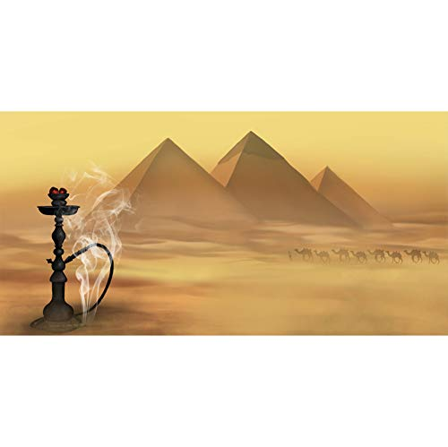 Leowefowa 15x8ft Large Vinyl Photography Backdrop Egypt Pyramids Camels Desert Sand Black Magic Lamp Smoke Background for Photography Event Filming Party Decoration Studio Photo Booth Backdrop