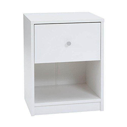 Price comparison product image MD Group Nightstand Residential One Drawer Storage Shelf White Engineered Wood Room Furniture
