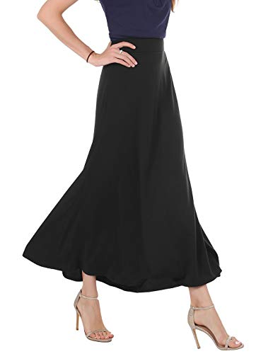 Womens Maxi Skirts Classic Lightweight Elastic Waist Flared Draped A-Line Long Skirts (Black, Small)
