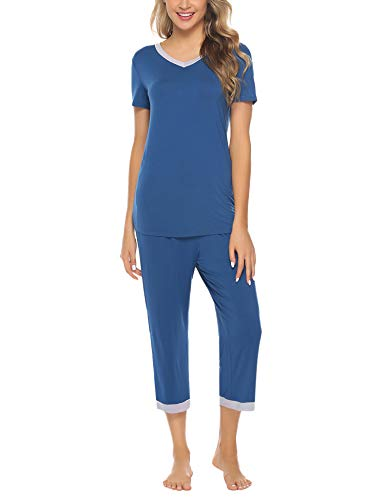 Hawiton Women's Capri Pants Pajamas Set Cotton Stretchy Knit Short Sleeve Sleepwear S-XL Navy Blue