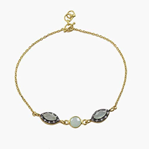 Sivalya 18K Gold Over Sterling Silver Peruvian Opal and Pave Crystals Bracelet 7