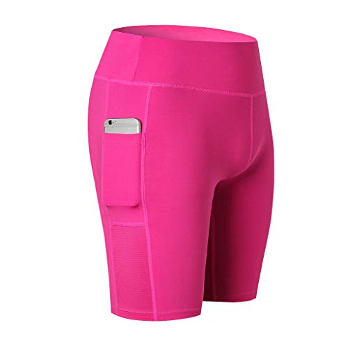 Womens High Waist Out Pocket Yoga Short,Workout Running Elastic Tummy Control Athletic Breathable Stretch Shorts Hot Pink