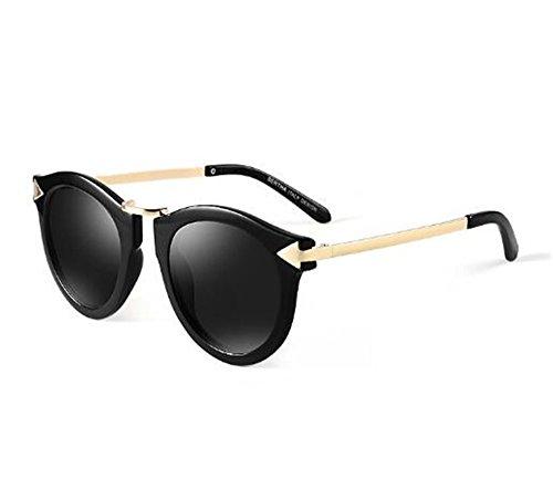 Gafas para Redonda Miopía 550 Black Grados con 350 polarizadas con Sol Degrees Productos Mujeres Sol Negro de Gafas Personalidad acorde Cara de Lentes KOMNY Grados XR0q77