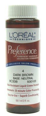 L'Oreal Preference Color # 4 Dark Brown (3-Pack) with Free Nail File