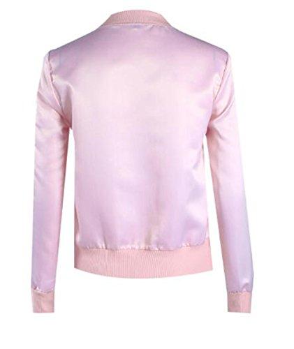 Giacche Zip Manica Colore Donna Giacca Pink Cappotto Aivosen Con Cappotti Personalità Semplice Casual Jacket Tasche Lunga Fit Puro EYvqwxxP1