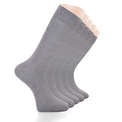 LAETAN (European Product) Elite Women's Business Casual Bamboo and Cotton Socks, Crew Size, SHOE SIZE : 6-9 (Ash Grey (5 Pairs))