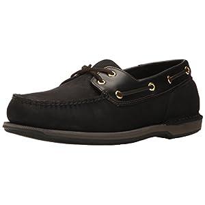 Rockport Men's Perth Boat Shoe, Black/Bark, 9.5 N US