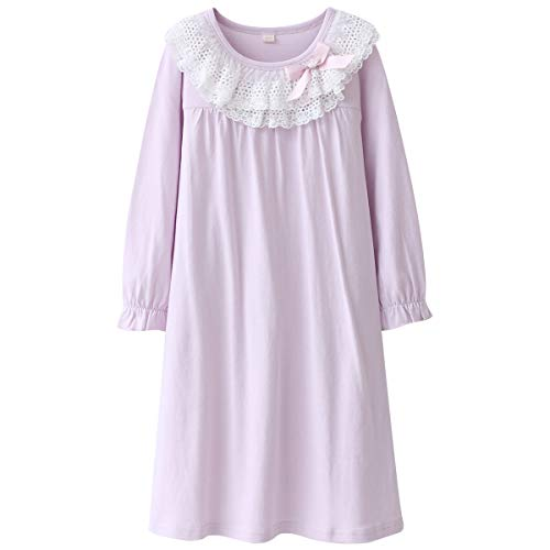 DGAGA Kids Girls Cotton Lace Nightgown Long Sleeve Solid Sleepwear Top Dresses Purple 4-5 Years /110cm