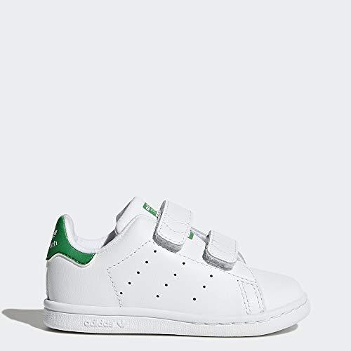 adidas Originals Baby Stan Smith Cloudfoam Sneaker, Footwear White/Green, 8.5 M US Toddler (Adidas Neo V Jog Infant & Toddler Sneaker)