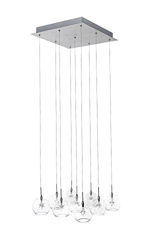 (ET2 E20106-24 Starburst 9-Light Multi-Light Pendant, Polished Chrome Finish, Clear Glass, 12V G4 Xenon Bulb, 50W Max., Dry Safety Rated, Shade Material, 3120 Rated Lumens)