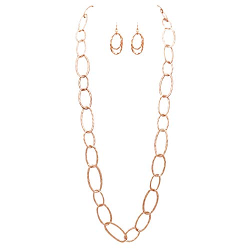 Rosemarie Collections Women's Long Hammered Links Statement Necklace and Earrings Gift Set (Rose Gold Tone)