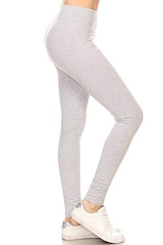 Leggings Depot Women's Ultra Soft French Terry Cotton Blend Drawstring Twill Jogger Cotton Pants (HIGH Waist- Heather Gray, 2X)