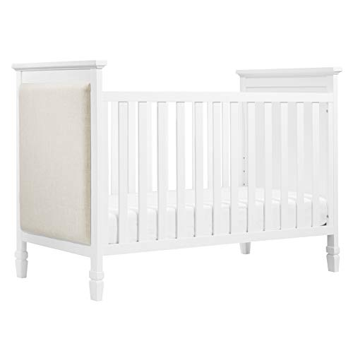 Davinci Lila 3-in-1 Upholstered Convertible Crib, White with Oatmeal Fabric