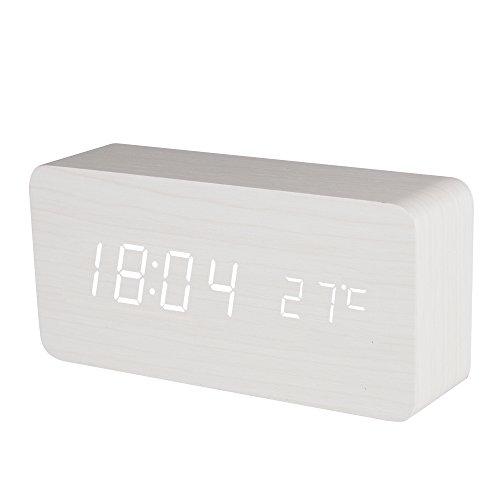 BALDR FBA_B9299 Wooden Digital Alarm Clock, Wood White Light