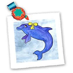 3dRose Daisy Bottlenosed Dolphin Square Quilt Sheet, 10 by 10-Inch