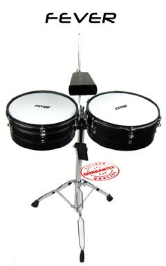 Fever TB-1314-BK Set 13 and 14 Inches with Stand, Black (Lp Set Timbale Drum)