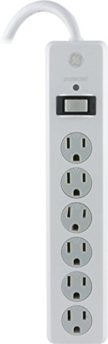 GE Power Strip Surge Protector, 6 Outlets, 4ft Power Cord, Flat Plug, 800 Joules, Safety Locks, Multi Outlet, Wall Mount, White, 33658 -