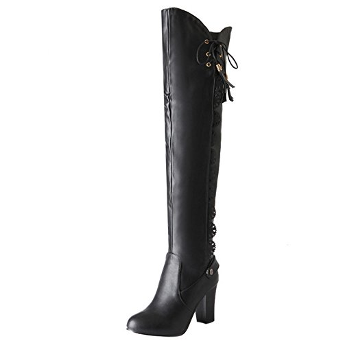 COOLCEPT Mujer Moda Zapatos Sobre Rodillo Botas de Tacon Ancho sin Cordones Black
