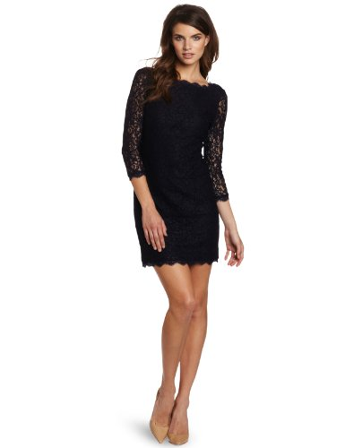 Adrianna-Papell-Womens-34-Sleeve-Lace-Dress-Navy-8