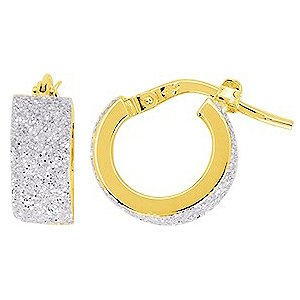 So Chic Bijoux © Boucles d'oreilles Femme Créoles Brillantes Gris Argenté Diamètre 8 mm Fil Rectangle Large Or Jaune 750/000 (18 carats)